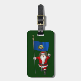 Santa Claus With Ensign Of Vermont Luggage Tag