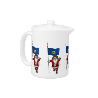Santa Claus With Ensign Of Vermont Teapot