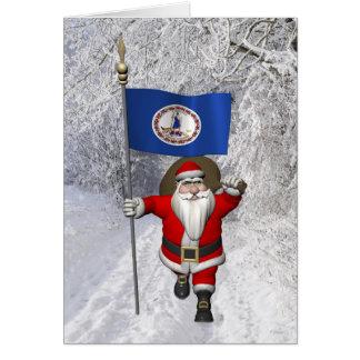 Santa Claus With Ensign Of Virginia Card