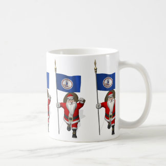 Santa Claus With Ensign Of Virginia Coffee Mug