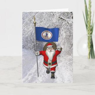 Santa Claus With Ensign Of Virginia Holiday Card