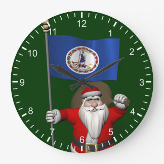 Santa Claus With Ensign Of Virginia Large Clock