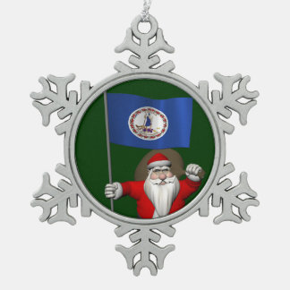 Santa Claus With Ensign Of Virginia Snowflake Pewter Christmas Ornament