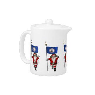Santa Claus With Ensign Of Virginia Teapot