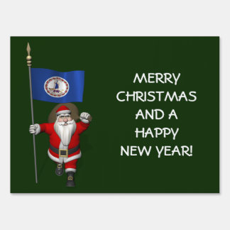 Santa Claus With Ensign Of Virginia Yard Sign