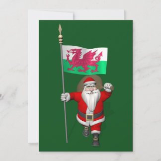 Santa Claus With Ensign Of Wales Holiday Card