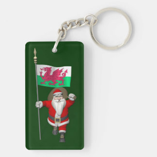 Santa Claus With Ensign Of Wales Keychain