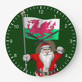 Santa Claus With Ensign Of Wales Large Clock