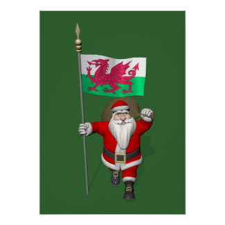Santa Claus With Ensign Of Wales Poster