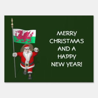 Santa Claus With Ensign Of Wales Sign