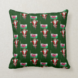 Santa Claus With Ensign Of Wales Throw Pillow
