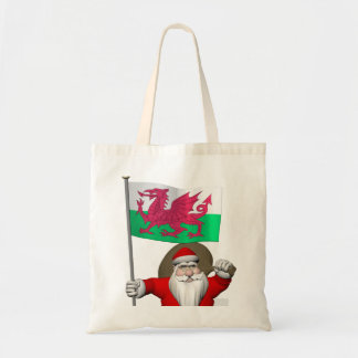 Santa Claus With Ensign Of Wales Tote Bag