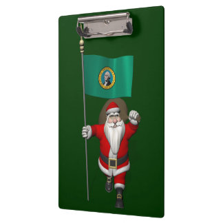 Santa Claus With Ensign Of  Washington Clipboards