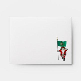 Santa Claus With Ensign Of  Washington Envelope