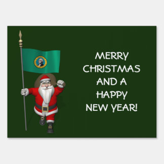 Santa Claus With Ensign Of  Washington Lawn Sign