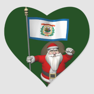 Santa Claus With Ensign Of West Virginia Heart Sticker