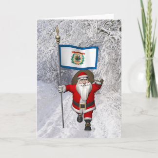 Santa Claus With Ensign Of West Virginia Holiday Card