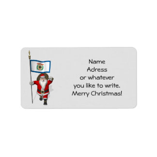 Santa Claus With Ensign Of West Virginia Label