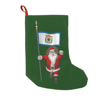 Santa Claus With Ensign Of West Virginia Small Christmas Stocking