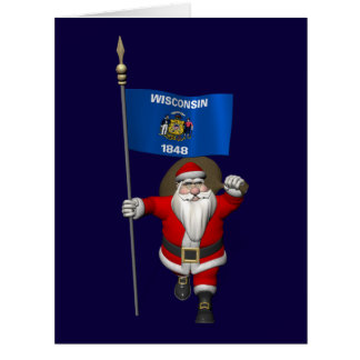 Santa Claus With Ensign Of Wisconsin Card