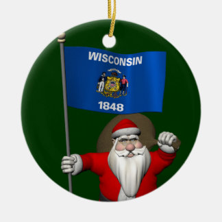 Santa Claus With Ensign Of Wisconsin Ceramic Ornament