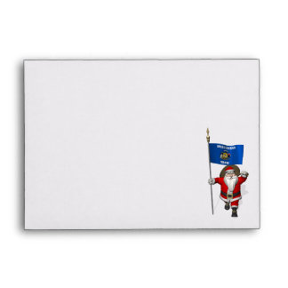 Santa Claus With Ensign Of Wisconsin Envelope