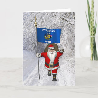 Santa Claus With Ensign Of Wisconsin Holiday Card