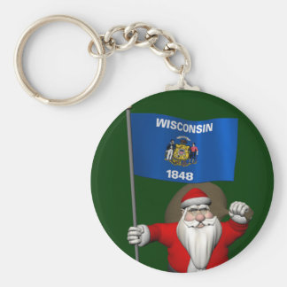 Santa Claus With Ensign Of Wisconsin Keychain