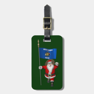 Santa Claus With Ensign Of Wisconsin Luggage Tag