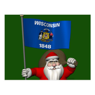 Santa Claus With Ensign Of Wisconsin Post Cards