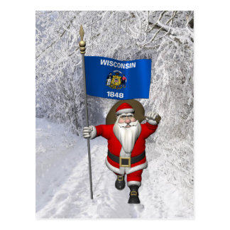 Santa Claus With Ensign Of Wisconsin Post Card