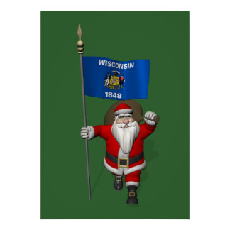 Santa Claus With Ensign Of Wisconsin Poster