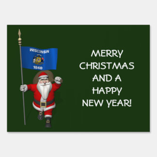 Santa Claus With Ensign Of Wisconsin Sign