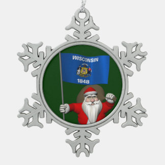 Santa Claus With Ensign Of Wisconsin Snowflake Pewter Christmas Ornament