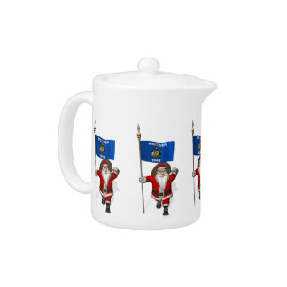 Santa Claus With Ensign Of Wisconsin Teapot