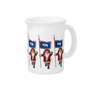 Santa Claus With Ensign Of Wyoming Drink Pitcher