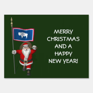 Santa Claus With Ensign Of Wyoming Lawn Sign
