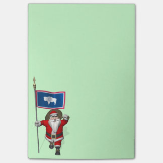 Santa Claus With Ensign Of Wyoming Post-it® Notes