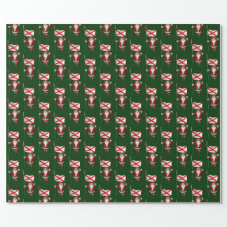 Santa Claus With Flag Of Alabama Wrapping Paper