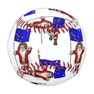 Santa Claus With Flag Of Alaska Baseball