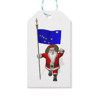 Santa Claus With Flag Of Alaska Gift Tags