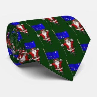 Santa Claus With Flag Of Alaska Tie