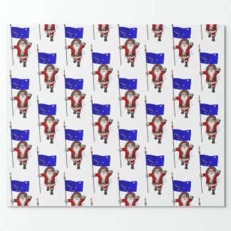 Santa Claus With Flag Of Alaska Wrapping Paper