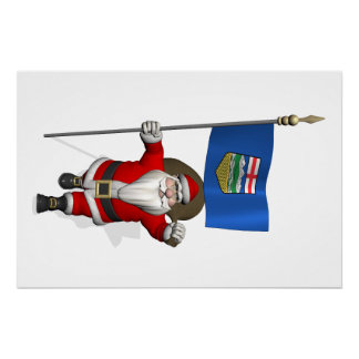 Santa Claus With Flag Of Alberta CDN Poster