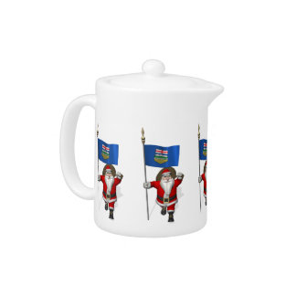 Santa Claus With Flag Of Alberta CDN Teapot