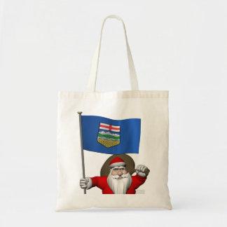 Santa Claus With Flag Of Alberta CDN Tote Bag