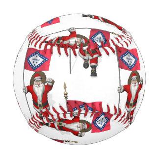 Santa Claus With Flag Of Arkansas Baseball