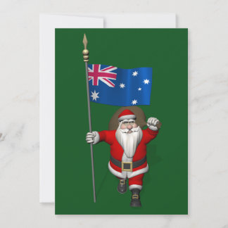 Santa Claus With Flag Of Australia Holiday Card