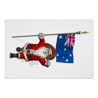 Santa Claus With Flag Of Australia Poster