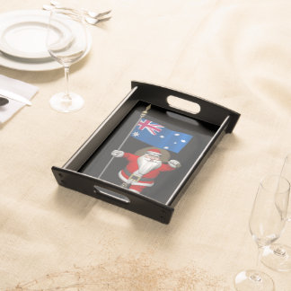 Santa Claus With Flag Of Australia Serving Tray
